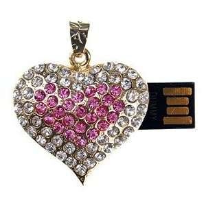 8GB Heart Shape U Disk USB Flash Memory Drive with Rhinestone (Golden)
