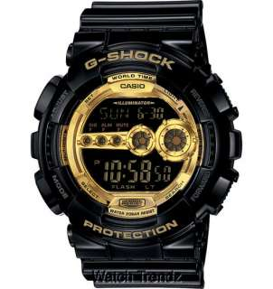 Shock GD100GB 1 Black & Gold X Large Mens Sport Watch Brand New
