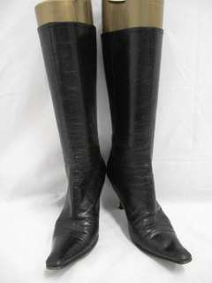 Jimmy Choo Black Leather Pointed Toe Zip Up Mid Calf Boots 37.5