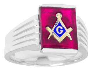 Mens Sterling Silver Gold Masonic Freemason Mason Ring