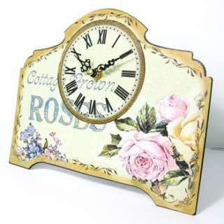Roses and Flowers Painting Home Decor Metal Desk Table Clock