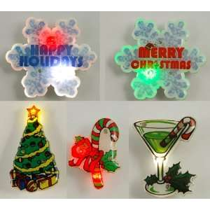 Christmas Holiday LED Light Up Flashing Pins Assortment