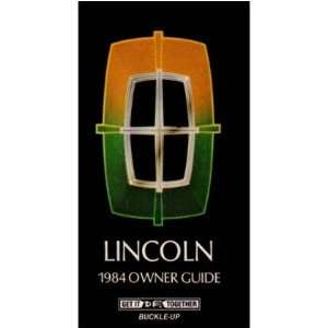 1984 LINCOLN TOWN CAR Owners Manual User Guide Automotive