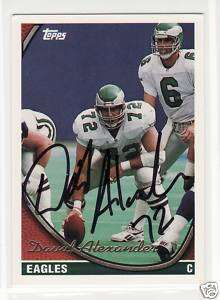 DAVID ALEXANDER SIGNED PHILADELPHIA EAGLES 1994 TOPPS