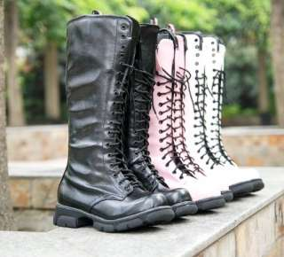 White Lace Up Punk Mid Calf Military Combat Boots #107b