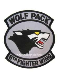 USAF F 16 FALCON 8TH FIGHTER WING JET BONUS WOLF PACK PATCH