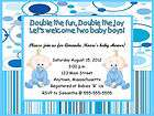 Twin Boys Baby Carriage Buggy Personalized Shower Invitations