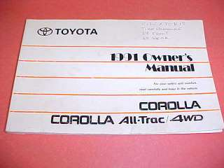 1991 TOYOTA COROLLA OWNERS MANUAL SERVICE GUIDE BOOK 91