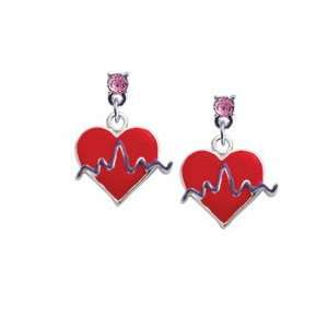 Red Heart with Rhythm Line Light Pink Swarovski Post Charm