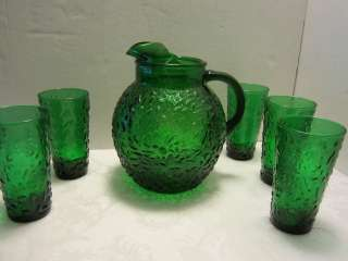 Forest Green Depression Glass Ball Pitcher & 5 tumblers Anchor Hocking
