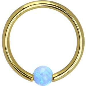 Gold Light Blue Synthetic Opal Captive Ring   14 Gauge 3/8 Jewelry