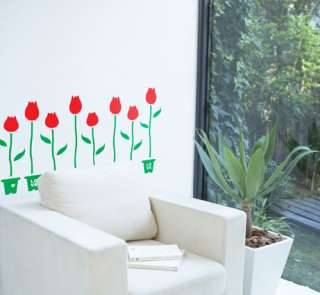Flowers Vinyl Wall Decals Stickers Tulip Flowerpot