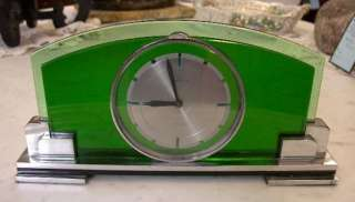 OUTSTANDING OMEGA TWO TONE EMERALD GREEN GLASS ART DECO DESK CLOCK