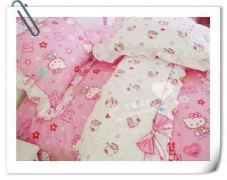 Queen/Full Cotton Quilt Duvet Cover Kids Bed Set Hello Kitty 4pc Brand
