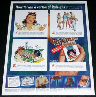 WWII MAGAZINE PRINT AD, RALEIGH CIGARETTES MORE GOLDEN, WIN A CARTON