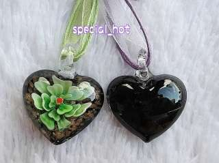 Wholesale lot jewelry 12pcs Flower Heart murano Glass bead Pendant