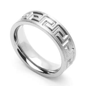 6MM Comfort Fit Stainless Steel Wedding Band Greek Key Ring (Size 6 to
