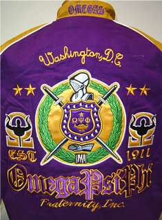 New Mens Omega Psi Phi Purple & Gold Fraternity, Inc. Racing Style