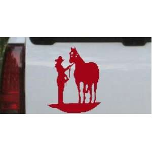 Cowgirl with Horse Western Car Window Wall Laptop Decal Sticker    Red