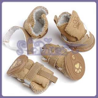 Trendy Tan Cottom Lined Cozy Pet Dog Shoe Boots Clothes