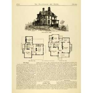 1873 Article Villa Architectural Design Floor Plan Victorian Building