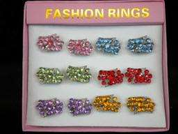 WholeSale Fashion Costume jewelry Mix Lot Crystal rings silver