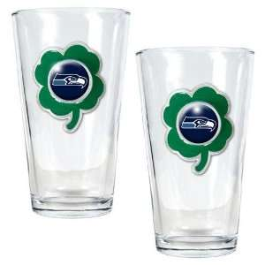NFL Seattle Seahawks St. Patricks Day 2pc Pint Glass Set