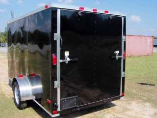 6x12 plus 2ft v nose enclosed ATV cargo motorcycle trailer black NEW