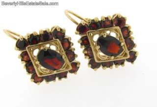 Antique Art Deco 18k Garnet Diamond Shaped Earrings