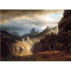 Oil Painting In Western Mountains Albert Bierstadt Hand Painted Art