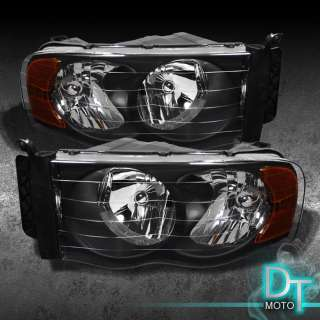 02 05 DODGE RAM PICKUP BLACK EURO HEADLIGHTS LAMPS LIGHTS (LEFT+RIGHT