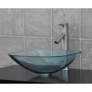 1/2 Thick clear Square Glass Vessel Sink + brushed nickel