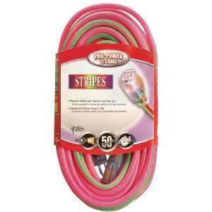 Cable 02548 77 50 Foot 12/3 Neon Outdoor Extension Cord, Pink/Green
