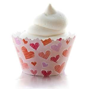 Love Hearts Red, Pink, Purple Valentine Heart Cupcake