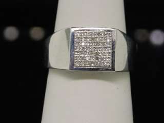 MENS WHITE GOLD FINISH BIG ROUND CUT PAVE DIAMOND PINKY RING