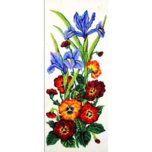 IRISES & PANSIES NEEDLEPOINT CANVAS Arts, Crafts & Sewing