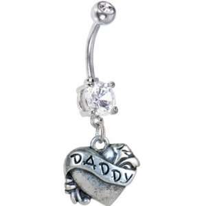 Crystalline Double Gem Daddy Heart Belly Ring Jewelry