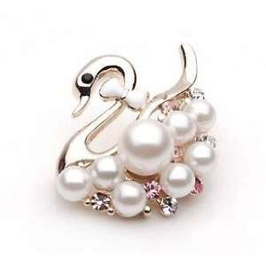 Swan and Pearl White Pink Rhinestone Crystal Brooch Breast