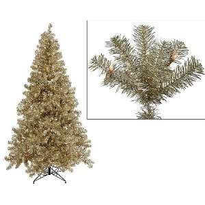 7 Pre Lit Champagne Artificial Tinsel Christmas Tree