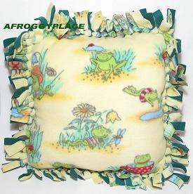 Frog Froggy Fleece Tied Pillow Handmade Yellow Green