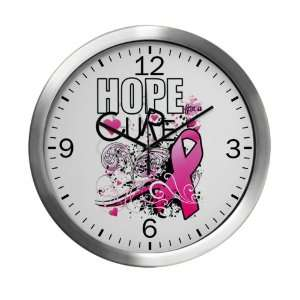 Modern Wall Clock Cancer Hope for a Cure   Pink Ribbon