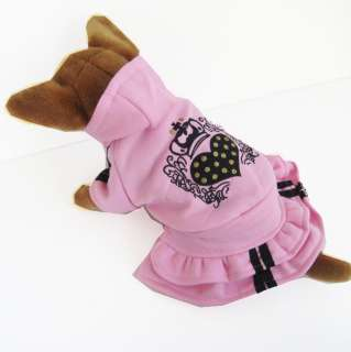 Pink Heart Hooded Dress pet dog clothes Chihuahua New