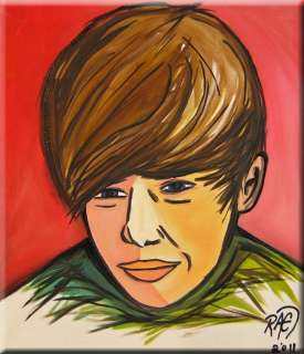 JUSTIN BIEBER Original Abstract ART PAINTING by RAEART