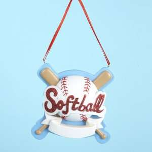 Club Pack of 12 Softball Christmas Ornaments for