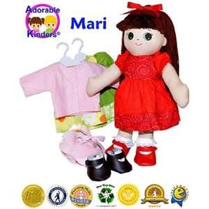 Adorable Kinders Rag Mari Doll with Green Dress & Pink