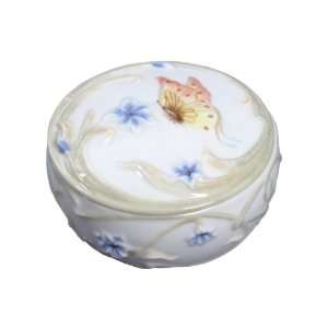Butterfly and Blue Iris Flower Porcelain Trinket Box
