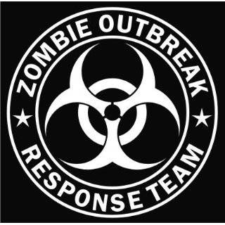 ZOMBIE OUTBREAK RESPONSE VEHICLE decal sticker, White