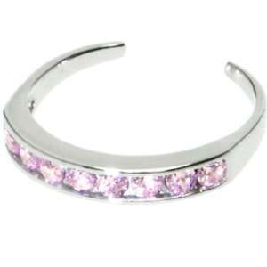 Solid 14kt White Gold Pink Cubic Zirconia Toe Ring Jewelry
