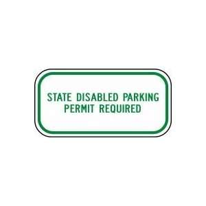 (WASHINGTON) STATE DISABLED PARKING PERMIT REQUIRED Sign 6