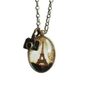 Eiffel Tower Antique Brass Pendant Necklace with Hanging Camera